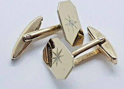 Pair Of Vintage 9Ct Gold On Silver Lozenge Shaped Cufflinks - Star Engraving