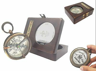 3 Inch Map Reader Magnifying Glass Brass Compass Spencer & Compass W/ Wooden Box