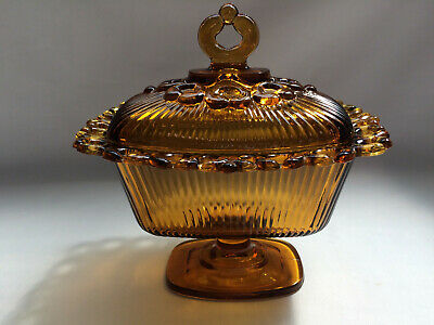 Vintage Indiana Glass Lace Edge amber pedestal lidded candy dish 1958