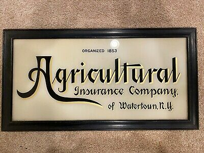 Agricultural Insurance Reverse Glass Sign - Unique