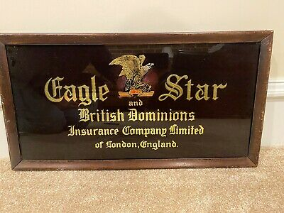 Eagle Star Insurance Company - Vintage Reverse Glass Sign - London, England