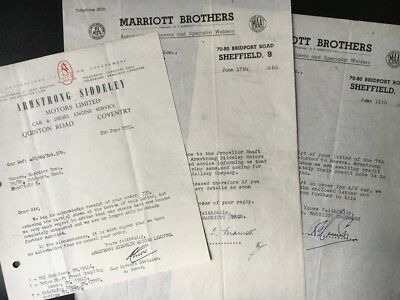 1955 Armstrong Siddeley Letterhead COVENTRY Marriott brothers SHEFFIELD ATTIC