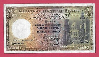 Egypt 10 Pounds 1947, P#23c , Leith Ross ,VF