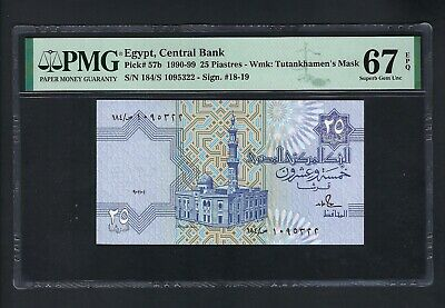 Egypt 25 Piastres 1991 P57b Uncirculated Graded 67