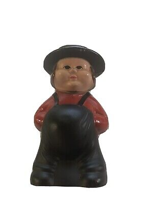 Vintage Cast Iron Amish Boy Coin Bank Very Good Condition
