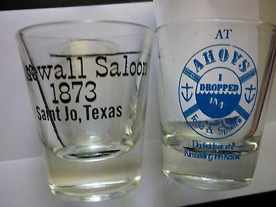 "2 Saloon Shot Glasses ""Ahoys Food & Spirits-I dropped INN."" & ""Stonewall Saloon"""