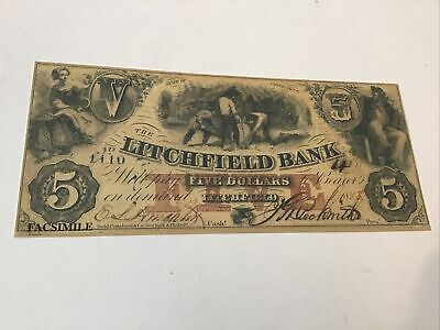 Civil War Currency Reproduction Connecticut $5 Lot #5709