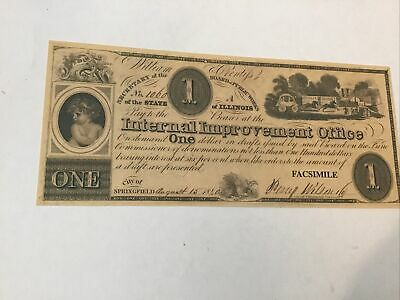 Civil War Currency Reproduction Illinois $1 Lot #5708