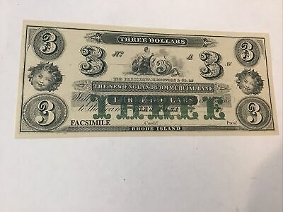 Civil War Currency Reproduction Rhode Island $3 Lot #5704