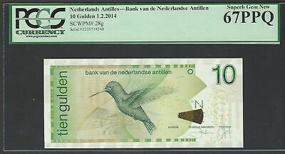 Netherlands Antilles 10 Gulden 1-2-2014  P 28g Uncirculated Grade 67