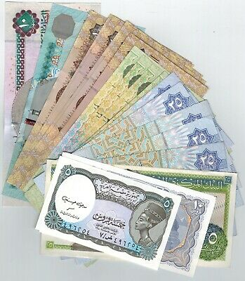28 Egyptian Paper Money Uncirculated 5,10,25,50 Piasters, 1,5 & 10 Pounds