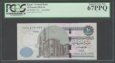 Egypt 10 Pounds 6-6-2016 P72 Uncirculated Graded 67