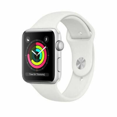 New Apple Watch Series 3 GPS MTEY2LL/A 38mm Silver Aluminum White Sport Band