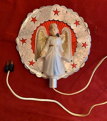 Vintage 1950/'s Lighted Angel Christmas Tree Topper Wire Gold Mesh Celluloid