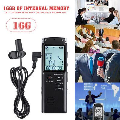 16GB LCD Digital Sound Voice Recorder USB Dictaphone MP3 Player Rechargeable UK