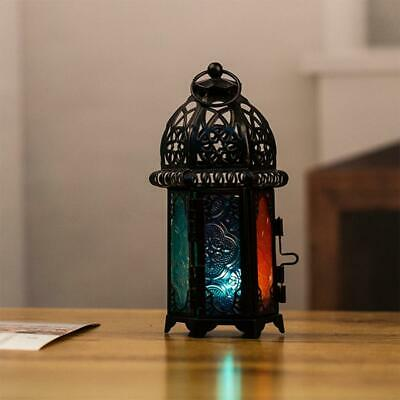 Hanging Moroccan Style Glass Lantern Light Candle Holder Home 7*19CM Decor V1A4