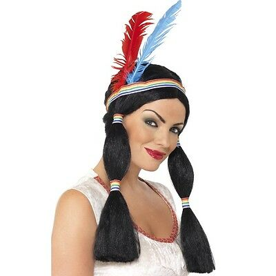 Black Indian Woman Wig With Headband Deluxe Pocahontas Squaw Inc Accessory