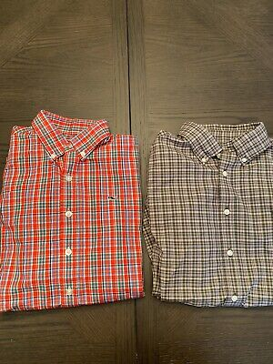 New with Tag Vineyard Vines Boys Grovedale Cotton Gingham Whale Shirt L 16