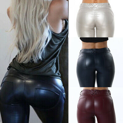 Womens Butt Lift Leather Pants Wet Look PU PV Leggings Stretch Workout Trousers