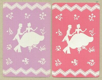 2 Single VINTAGE Swap//Playing Cards COUPLE LADY GENT with FLOWERS /'TRYST CO-8-63
