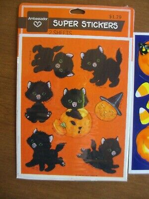 Dennison Mini Stickers Mrs Grossman/'s New in Package Sticker Lot Vintage Halloween Stickers Ghosts Witches Black Cats Glow in the Dark