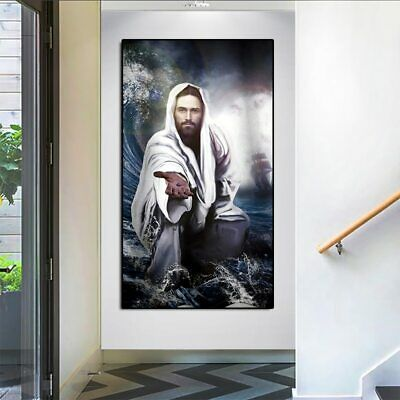 Jesus Face and Aum Om 5 PCs Canvas Wall Art Poster Print Picture Home Decor