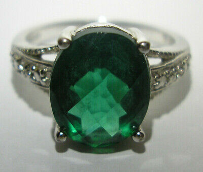 Size 8 Ring and Dark Green Spinel Gemstones 14k Ring with Aquamarine Light Blue Topaz Vintage Jewelry