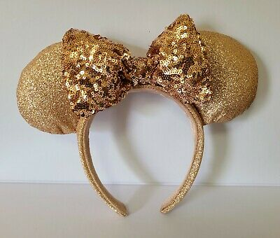 Disney Parks Briar Rose Gold Minnie Mouse Ears Headband Bow RETIRED design NEW