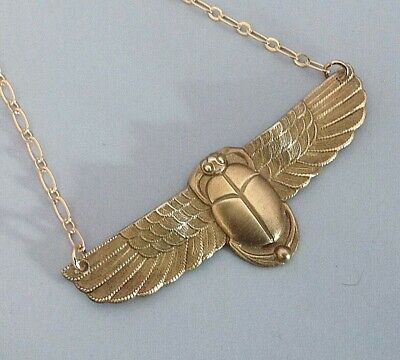 """Scarab Pendant on a silver plate chain /""""246/"""" sacred beetle of Egypt necklace!!"""