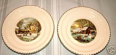 HARKERWARE CURRIER & IVES BREAD PLATES 2