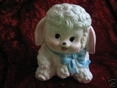 Precious Vintage Ceramic Baby Lamb Figurine Planter Porch, Patio, Garden Decor