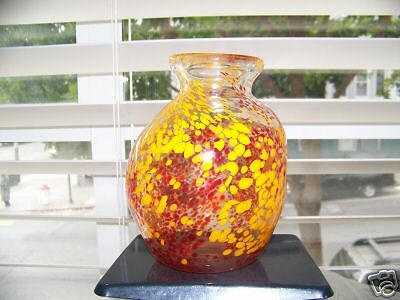 "Handcrafted Glass Vase, Red Orange Specks, 6 1/8""T, PC"