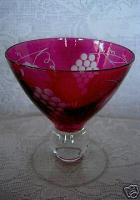 Impressive Ruby Red Stained Cut to Clear & Etched Grapes Goblet