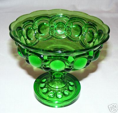 L.G. WRIGHT GREEN EYEWINKER   COMPOTE - PEDESTAL CANDY