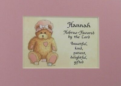 Baby Name Girl Teddy Bear Meaning Personalized Gift 5X7