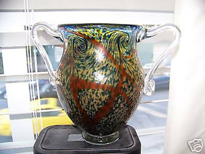 Studio Art Glass Vase, Saro '95, Dbl Handle, Swirls