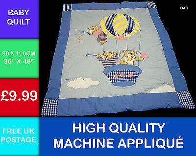 Brand New Childs Teddy Bear Balloon 100% Cotton Quilt Bed Cot Hand Crafted Q40