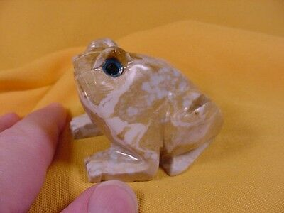 (Y-FRO-401) FROG frogs carving gem stone gemstone SOAPSTONE PERU