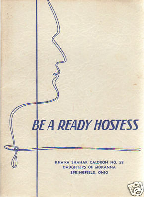 EASTERN STAR OES SPRINGFIELD OH 1940s ANTIQUE BE A READY HOSTESS COOK BOOK