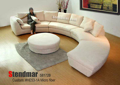 NEW MODERN ROUND Sectional Microfiber Sofa S8172Bg