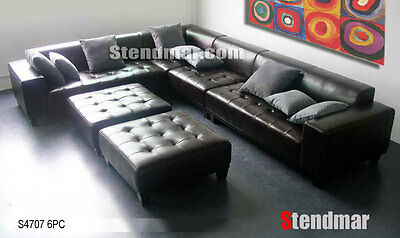 5PC MODERN EURO DESIGN LEATHER SECTIONAL SOFA S1025