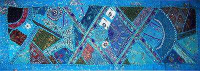 Antique Hand Embroidered Beaded Sequin Turquoise Wall Tapestry Runner from India