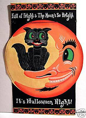 Cat In Moon Retro Old Style Halloween Canvas Sign