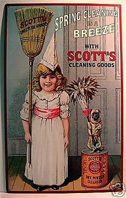Scotts Cleaning Goods Rustic Retro Old Style Tin Sign