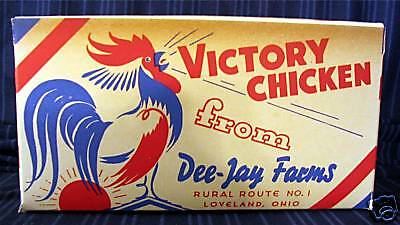 "1940's ""Victory Chicken"" War Carryout/ Old Store Stock"