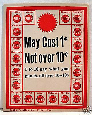 1950 May Cost 1 Cent To 10 Cent Punch Board / Old Stock