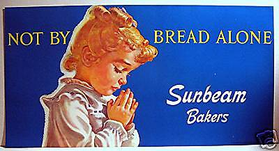 1976 Sunbeam Bread Store Window Sign/ Old Store Stock