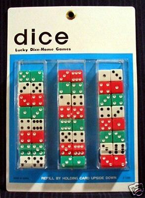 24 Pair Colorful Dice Store Display Card / Old Stock