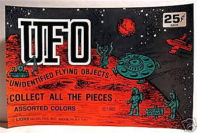 UFO Toy 1980 Gumball Vending Machine Charms Sign
