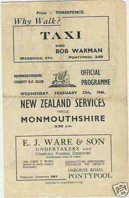 NEW ZEALAND 1946 v MONMOUTHSHIRE RUGBY PROGRAMME